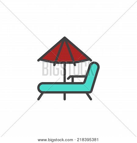Beach chaise lounges and umbrella filled outline icon, line vector sign, linear colorful pictogram isolated on white. Beach parasol and deckchair Symbol, logo illustration. Pixel perfect vector graphics