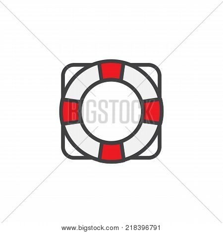 Lifebuoy filled outline icon, line vector sign, linear colorful pictogram isolated on white. Lifebelt symbol, logo illustration. Pixel perfect vector graphics
