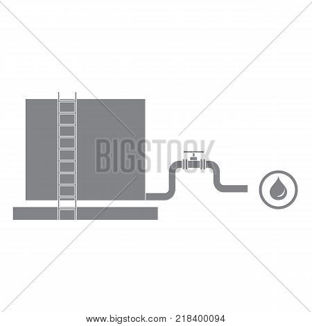 Stylized icon of the tank with oil and a pipe with a valve on a white background