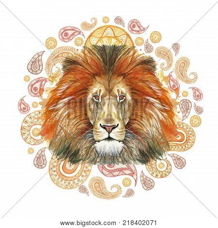 Watercolor drawing of a red lion, red mane, lion-king of beasts, portrait of greatness, strength, kingdom, india, Indian patterns, with elements of a Turkish cucumber on a white background