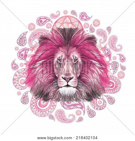 Watercolor drawing of a pink lion, pink mane, lion-king of beasts, portrait of greatness, strength, kingdom, india, Indian patterns, with elements of a Turkish cucumber on a white background