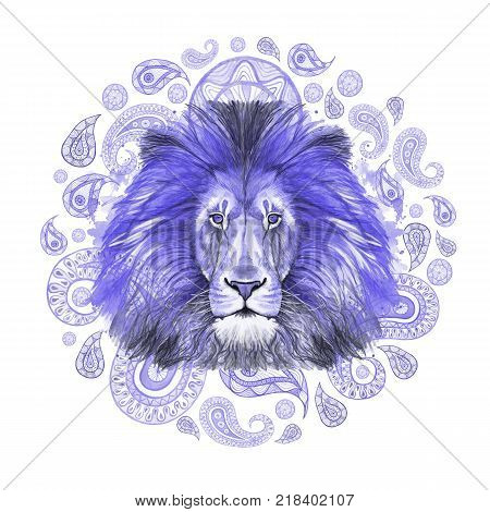Watercolor drawing of an animal of a blue lion, a blue mane, a lion-king of beasts, a portrait of greatness, strength, kingdom, india, Indian patterns, with elements of a Turkish cucumber on a white background