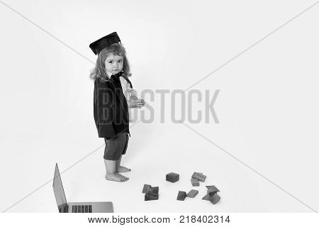 Small Boy Child With Cubes