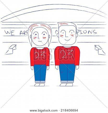 MaMan and woman at the stadium. Vector illustration.