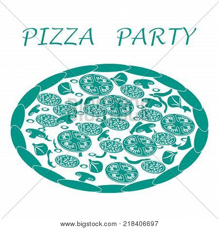 Nice illustration of tasty, appetizing pizza with inscriptions on a white background.