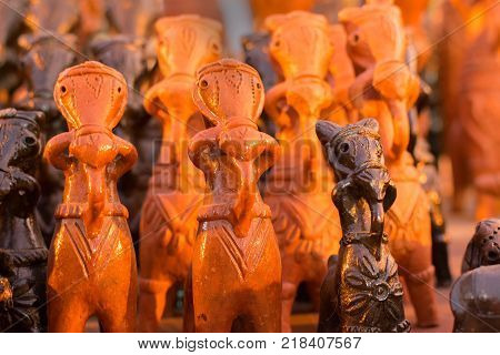 Clay made horses terracotta handicrafts of Bankura and Bishnupur on display during the Handicraft Fair in Kolkata West Bengal India. It is the biggest handicrafts fair in Asia.
