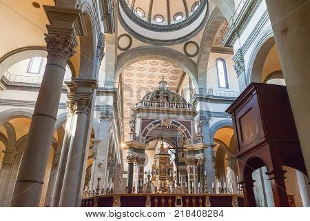 Florence Italy - April 08 2017: Interior of the Basilica of the Holy Spirit (Santo Spirito) it is one of the preeminent examples of Renaissance architecture