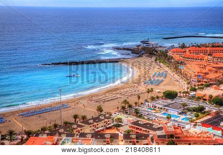 Aerial panorama of Fuente beach De Las Vistas on Canary island in summer holiday, Tenerife - Spain