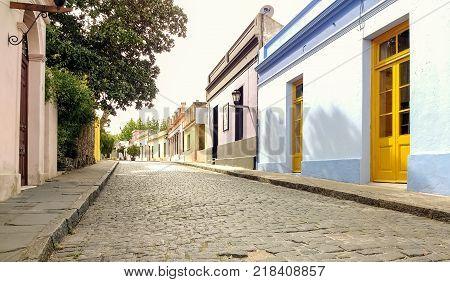 Beautiful antique street in historic quarter of Colonia del Sacramento Uruguay. Quiet town cobbled street