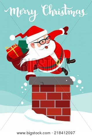 Vector cartoon illustration of funny cute Santa Claus with backpack full of gifts jumping into a chimney doing hand vault. Christmas festive holiday theme design element in contemporary flat style.