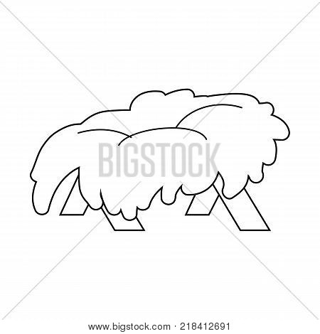 Christmas Empty Jesus Manger Vector Outline Icon Symbol Design. Vector Christmas illustration isolated on white background