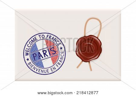 Welcome to France. Colored tourist stamp PARIS with national flag. Wax sealed. Vector 3d illustration isolated on white background