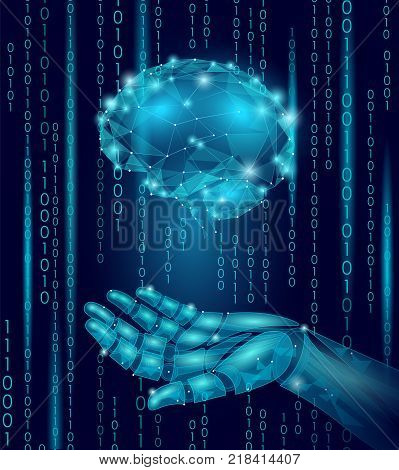 Robot android hand hold human brain. Low poly polygonal particle point line geometric render. Mental education creative idea future mind technology concept blue binary code vector illustration art
