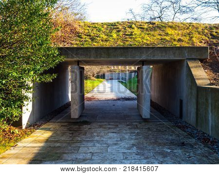 PRAGUE, CZECH REPUBLIC - DECEMBER 9, 2017: Entrance to former Kobylisy Shooting Range, Prague, Czech Republic. Place of mass executions during WWII by Nazis after the assassination of Reinhard Heydrich.