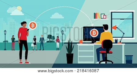 Woman sending bitcoins to another user's computer using a mobile app: cryptocurrency and money transfer concept