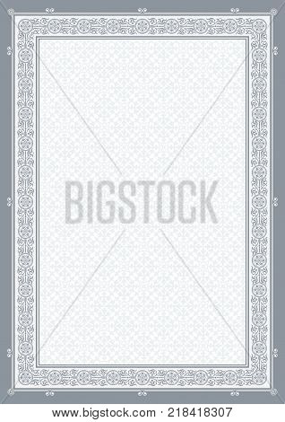 Ornate rectangular framework, background. Tints of gray. A4 proportions.