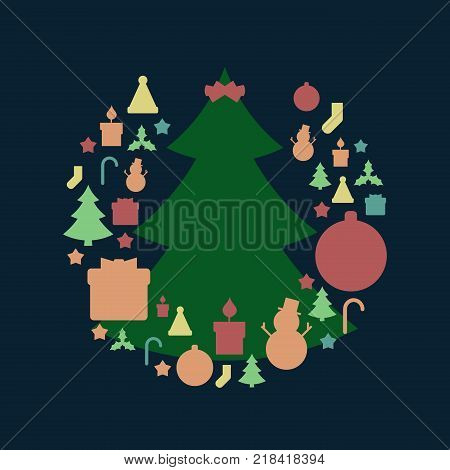Green Christmas Tree and Christmas Holiday Related Round Icon Pattern in Vintage Style and Retro Faded Colors. Vector Illustration.