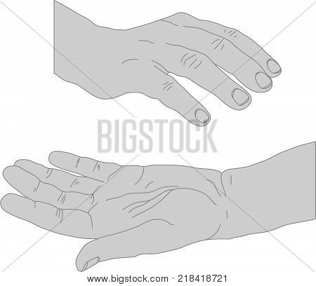 Drawn hands opened holding something - space to add an object