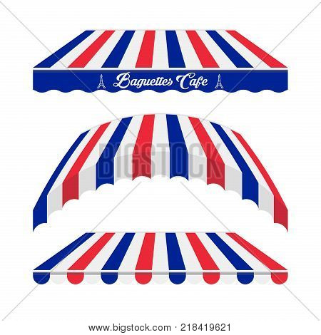 Awnings Vector Set. Different Forms. Colors of the French Flag. French Cafe, Baguette Shop, Market Store Design Elements.
