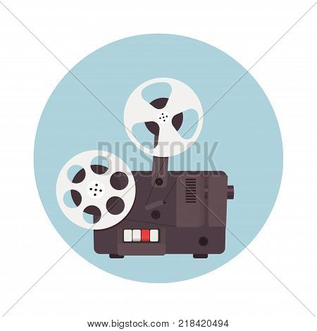 Old cinema projector. Template for banner, flyer or poster. Vector illustration