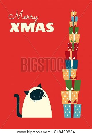 Vector Christmas illustration. Siamese cat sitting and looking at a high stack of gifts. Red background. Vertical format. Vibrant colors.