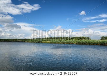 Summer pond and clouds in blue sky