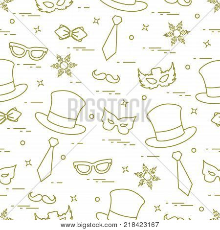 Seamless pattern of different carnival decorations: masks, hats, mustache  and other. Carnival festive concept. Costume for a party.