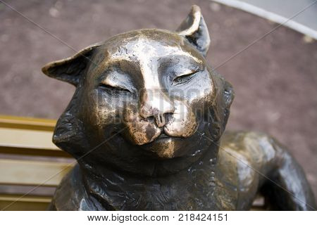 Yoshkar Ola city, Mari El, Russia - October 27, 2016 The sculptural composition of bronze Yoshkin cat in the city center near the main building of the Mari state University