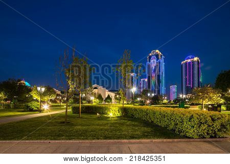 GROZNY RUSSIA - APRIL 24: Buildings in the district of Grozny City on April 24 2016 in Grozny.