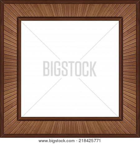 Isolated on white square brown walnut wooden frame element background. Walnut wood decorative frame. Decoration elements. Decorative walnut wooden frame border on white. Wooden elements frame