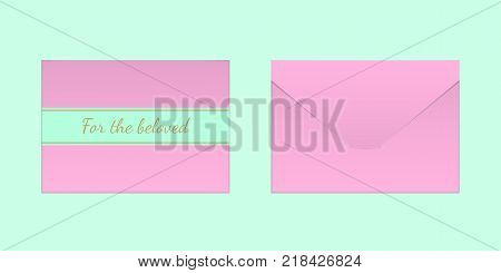 Decorative Pink Envelope. Vector Mock up of Envelop with Inscription For the Beloved Backside View and Frontside View