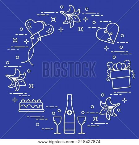 Romantic symbols arranged in a circle: gift, balloons, cake, lily, stemware, bottle, heart in the form of puzzle. Greeting card Valentine's Day. Design for banner, poster or print.
