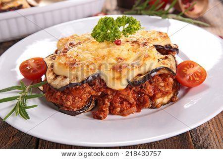 moussaka, aubergine,beef and tomato sauce