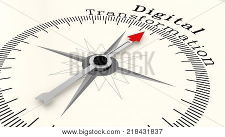 Compass With Arrow Pointing To The Word Digital Transformation