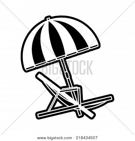 Sunchair of seat beach and sea theme Isolated design Vector illustration