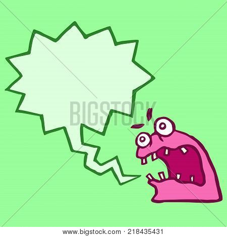 Red monster sponge with speech cloud. Funny cartoon characters. Vector illustration.