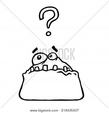 Surprised clot monster sponge screams. Cartoon cool isolated characters freehand drawing. White background. Vector Illustration.