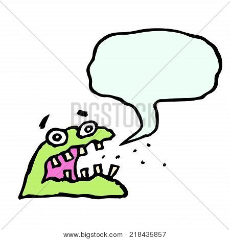 Cute green monster. Speech cloud. Cheerful creature for web icons and shirts. Funny cartoon cool character. Isolated vector illustration.
