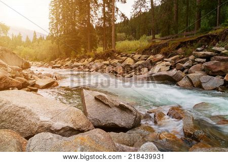 Beautiful Krimml waterfall and mountain stream on Tauern National park in Austria