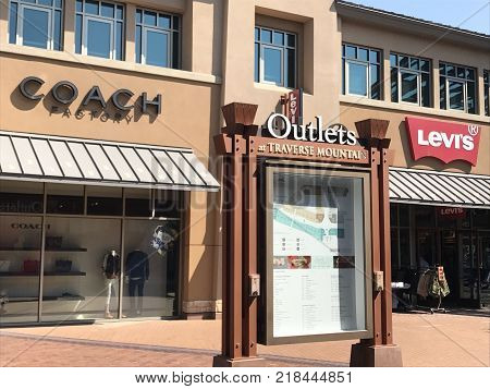 LEHI, UT - AUG 31: Outlets at Traverse Mountain in Lehi, Utah, as seen on Aug 31, 2017. It is the first and only Outlet in Utah County and borders Salt Lake County.