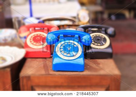 Athens, Greece. Vintage telephones collection at Monastiraki, an open air flea market