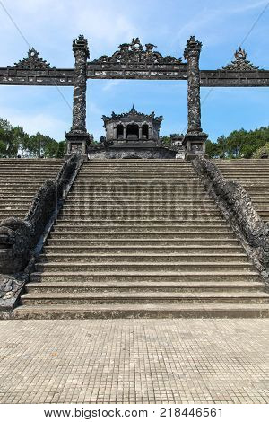 Entrance to Khai Dinh Tomb. Khai Dinh was emperor of Vietnam for the period 1916-1925 during the Nguyen Dynasty. The tomb is located outside of Hue the previous capital of Vietnam.