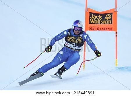 VAL GARDENA, ITALY - DECEMBER 14: Dominik Paris of Italy races down the Saslong course during the Audi FIS Alpine Ski World Cup Men's Downhill training on December 14 2017
