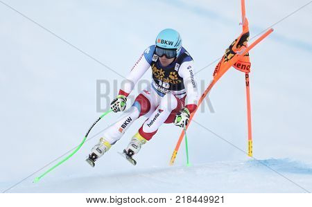 VAL GARDENA, ITALY - DECEMBER 14: Patrick Kueng of Switzerland races down the Saslong course during the Audi FIS Alpine Ski World Cup Men's Downhill training on December 14 2017