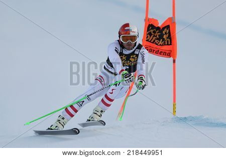 VAL GARDENA, ITALY - DECEMBER 14: Christian Walder of Austria races down the Saslong course during the Audi FIS Alpine Ski World Cup Men's Downhill training on December 14 2017