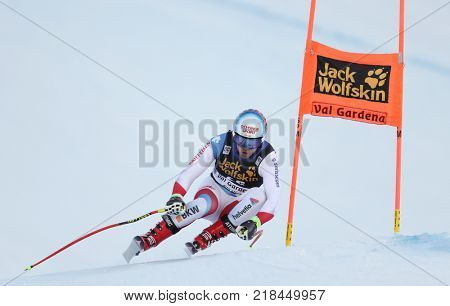 VAL GARDENA, ITALY - DECEMBER 14: Mauro Caviezel of Switzerland races down the Saslong course during the Audi FIS Alpine Ski World Cup Men's Downhill training on December 14 2017