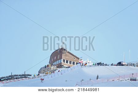 VAL GARDENA, ITALY - DECEMBER 14:  A General view of the Saslong course during the Audi FIS Alpine Ski World Cup Men's Downhill training on December 14 2017