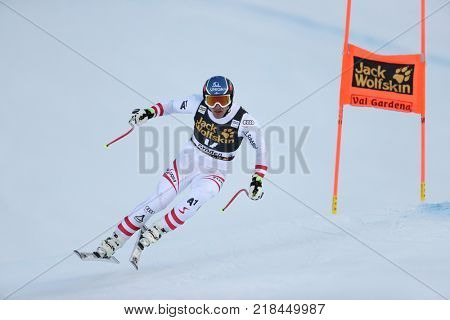 VAL GARDENA, ITALY - DECEMBER 14: Matthias Mayer of Austria races down the Saslong course during the Audi FIS Alpine Ski World Cup Men's Downhill training on December 14 2017