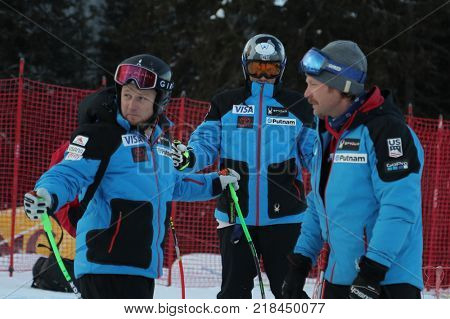 VAL GARDENA, ITALY - DECEMBER 14:  Coach Scotty Venis from Team USA with Thomas Biesemeyer,  Andrew Weibrecht of The USA during pre race course inspection for the Saslong course