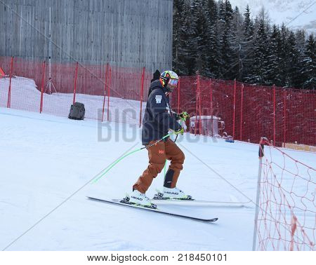 VAL GARDENA, ITALY - DECEMBER 14:  Manuel Osborne-Paradis of Canada during pre race course inspection for the Saslong course during the Audi FIS Alpine Ski World Cup Men's Downhill training